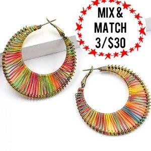 🔹️Ethnic Boho Hoops Multicolored Thread Earrings